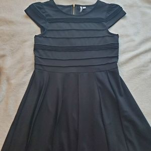 Pleated Short Sleeve Fit and Flare Black Dress
